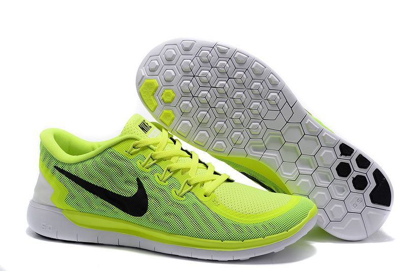 Nike Free 5.0 running shoes fluorescent green black white