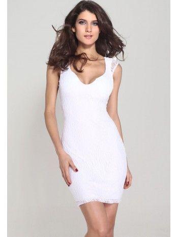 bfe478b9cd77 Robe femme - Décolleté sexy et courte blanche
