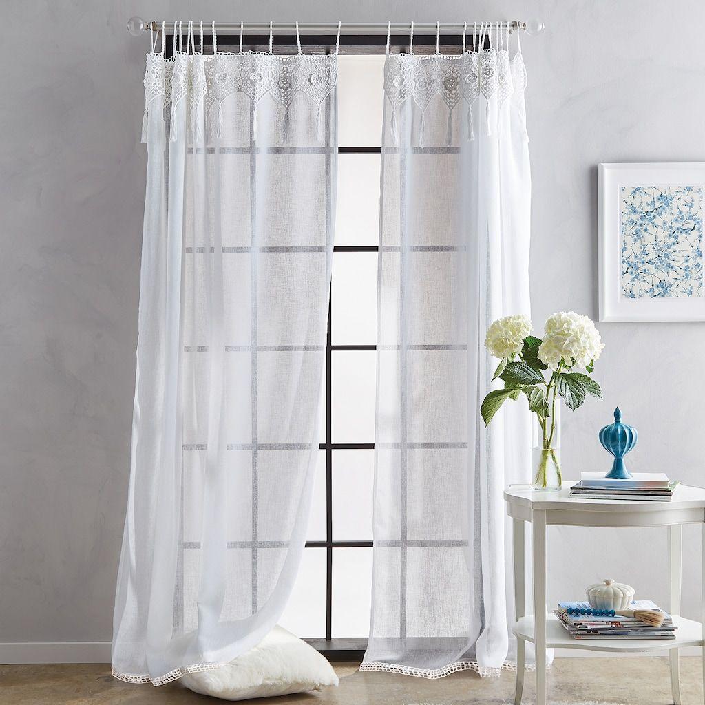 Suri Macrame Tab Curtain Panels Kohls In 2020 Curtains Tab