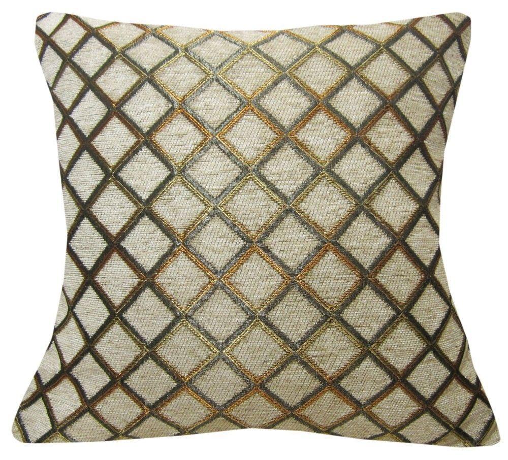 Wd36Ba -Lt Gold/Khaki/Grey Checker Cotton Cushion Cover/Pillow Case *Custom Size #Handmade