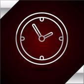 Silver line Clock icon isolated on dark red background Time symbol Vector Illu Silver line Clock icon isolated on dark red background Time symbol Vector Illustration  Buy...