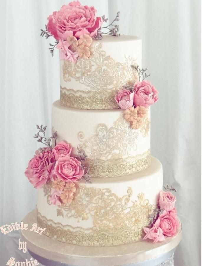 For The Love Of Dusty Cake By Sophia Haniff Crystal Candy - Dusty Pink Wedding Cake
