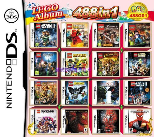 64GB 488 in 1 Video Multi Games Card for Nintendo 3DS/DS/DSi