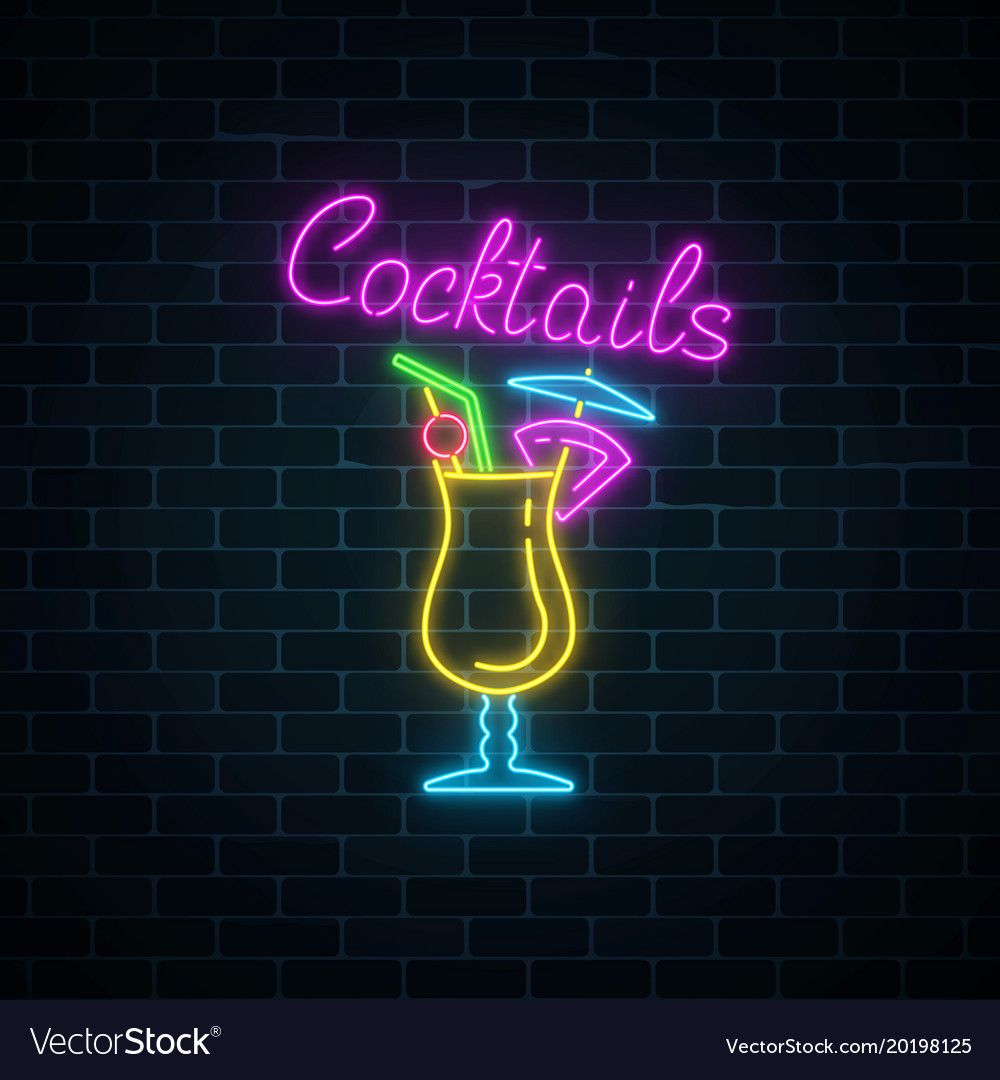 Glow Neon Sign Of Cocktails Bar On Dark Brick Vector Image On Em 2020 Instagram Displays Icones Do Instagram