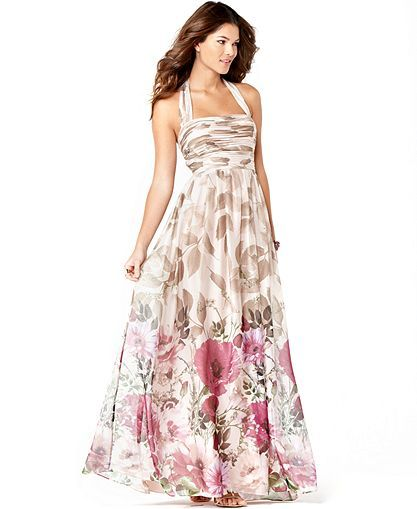 This Adrianna Papell Halter Dress Is Listed In Macy S As An Evening Gown Perhaps But I Think It Works Evening Gowns Floral Print Gowns Military Ball Gowns