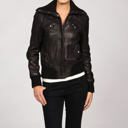 MICHAEL Michael Kors Women's Black Leather Bomber Jacket ...