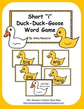 Short I Duck Duck Goose Word Game Word Games Reading Words Words