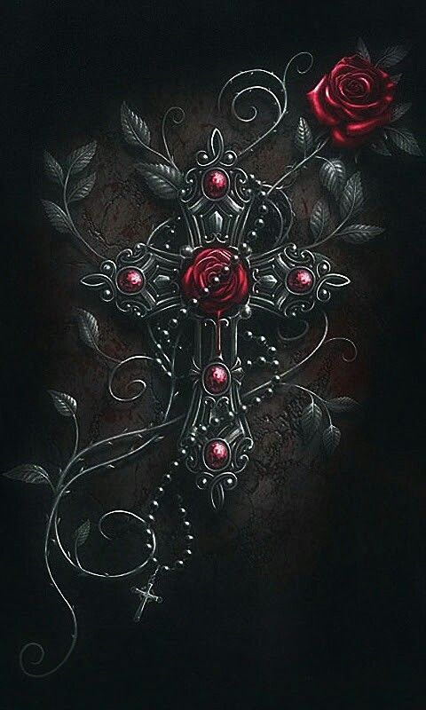 Ruby rose cross wallpaper by artist unknown - Gothic wallpaper for phone ...