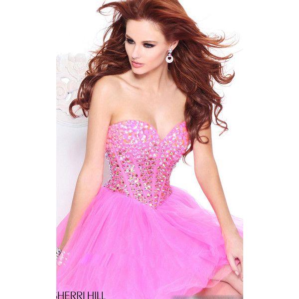 Beaded Pink Sherri Hill 21101 Short Homecoming Dress ($225) via Polyvore  featuring dresses,