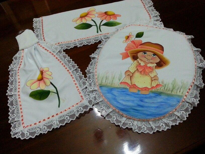 Juego de ba o pintura en tela mis trabajos en tecido - Pintura para banos ...