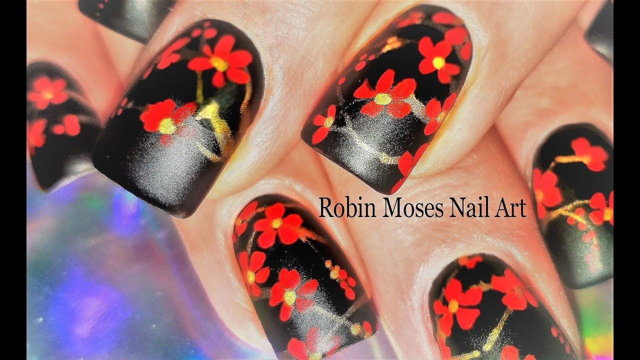 Cherry Blossom Nails 2018 Black And Red Matte Flower Nail Art