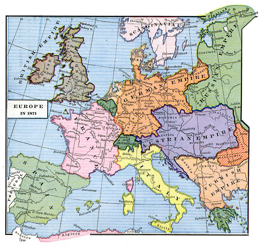 Map Of Europe In 1871.Europe At The End Of The Franco Prussian War 1871 Unification Of