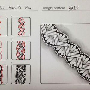 這是心亞投稿的第五個圖樣  Zentangle pattern - BALO    這款邊框設計算是華麗款的喔!          創意起源來自串珠手環          下圖是美華繪製在筆記本封面的應用作品     禪繞畫, TANGLE