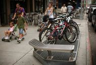 Raised sidewalk grates keep New York subways from flooding.