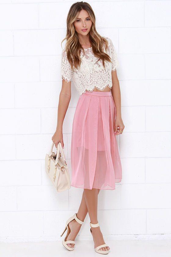 new season modern and elegant in fashion enjoy free shipping I Believe in Fairy Tales Dusty Rose Midi Skirt   Wardrobe ...