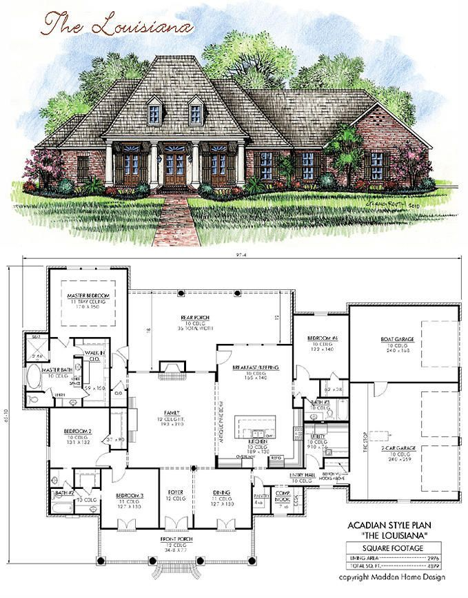 Madden home design acadian house plans french country for Louisiana acadian house plans
