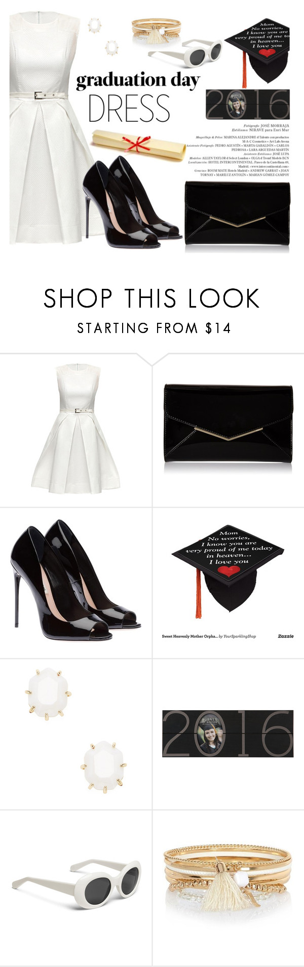 """Graduation Day Dress"" by louise-frierson ❤ liked on Polyvore featuring Lattori, Furla, Kendra Scott, River Island and graduationdaydress"