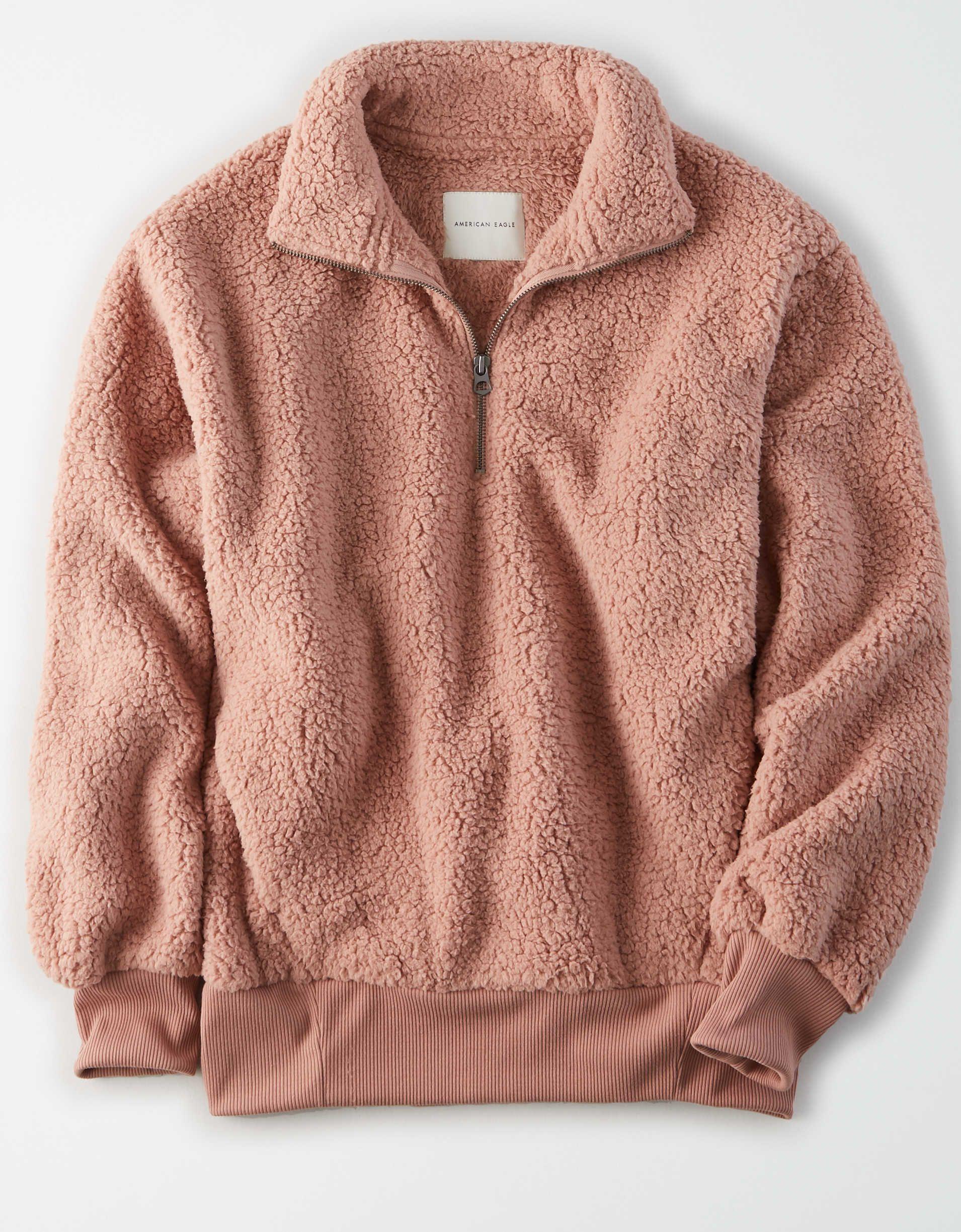 Ae Fuzzy Sherpa Quarter Zip Sweatshirt Pullover Hoodie Outfit Clothes Cozy Sweatshirts [ 2449 x 1910 Pixel ]