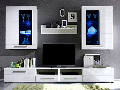 Modern Argus Living Room Furniture Set White Gloss Led Wall Unit Tv Cabinet Living Room Sets Furniture High Gloss Furniture Stylish Living Room Furniture