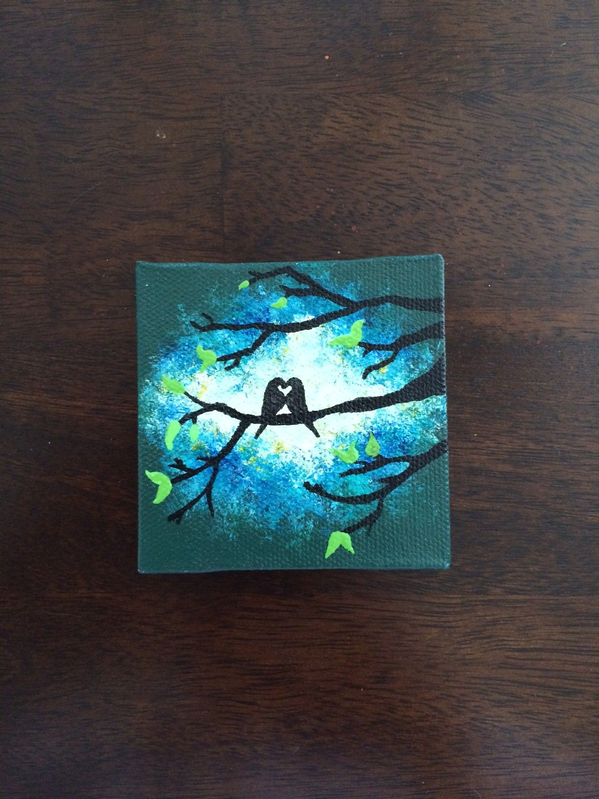 Love Birds in Tree in Jungle Green and Blue Burst on Mini Canvas Hand Painted with Magnet