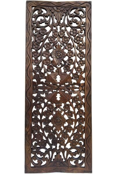 Floral Wood Carved Wall Panel Wall Hanging Asian Home Decor Decorative Thai Wall Relief Panel Sculpture Large Wood Wall Plaque 35 5 X13 5 X0 5 Color Option Wooden Wall Art Panels Carved Wood Wall Art