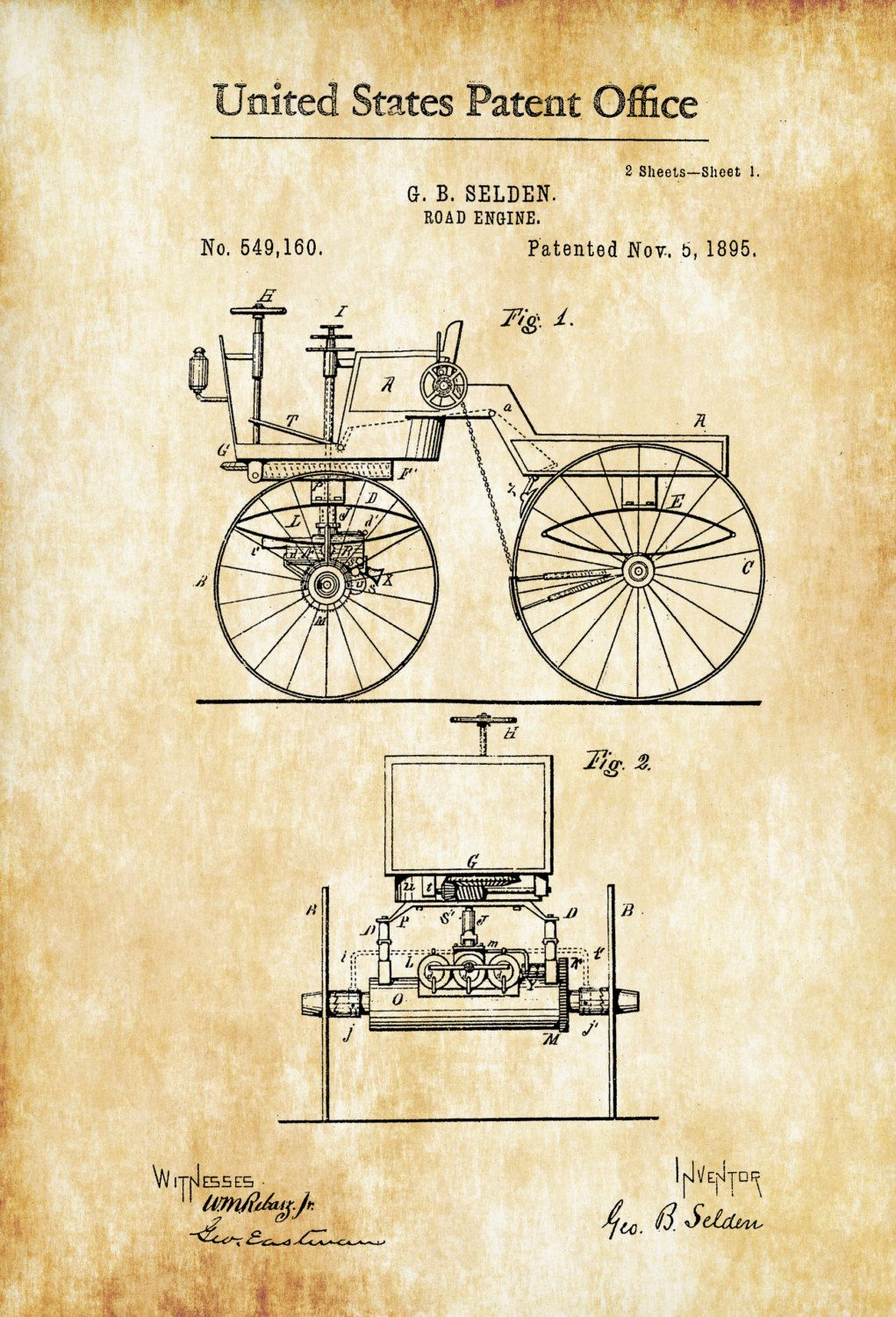 Road Engine Patent - Patent Print, Wall Decor, Automobile Decor ...