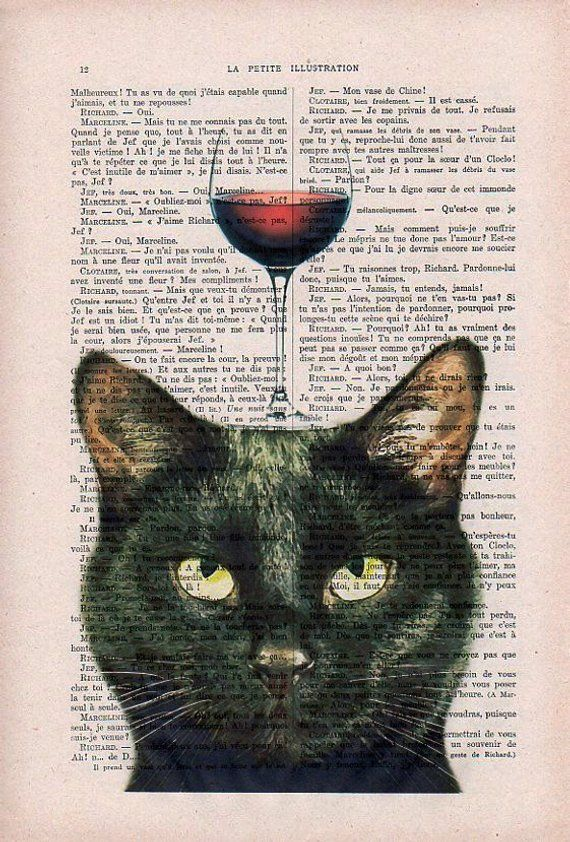 Black cat Print, cat with wine glass, French design, black