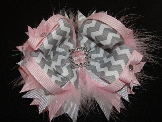Pink And Grey Chevron Boutique Bow Stacked By Adorablecreationsbyc 7 00 Baby Hair Bows Headbands Unique Hair Bows Diy Hair Accessories
