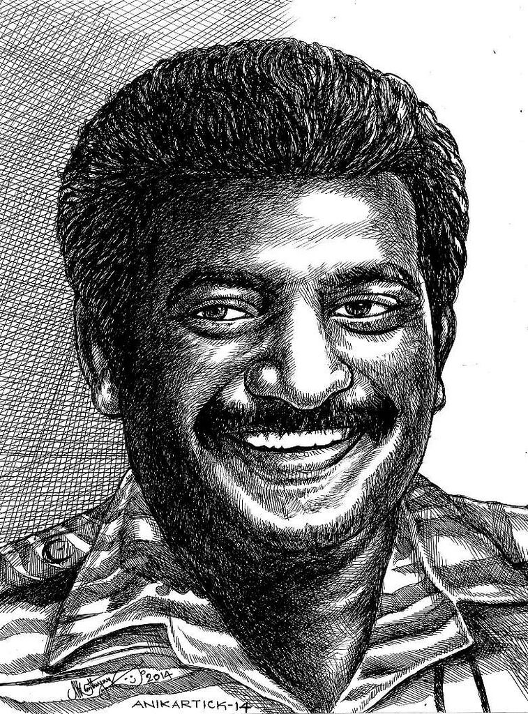 Prabhakaran ltte prabhakaran puratchi thalapathi drawing painting pen drawing