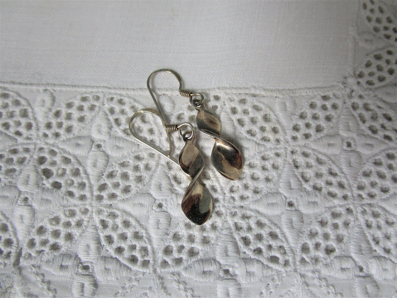 Pair of Vintage Sterling Silver Teardrop   Earrings