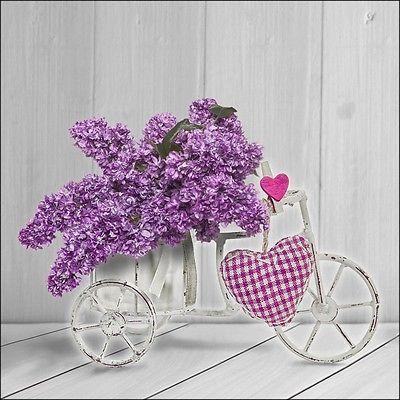 Quadro su tela shabby chic bicicletta con fiori bike for Quadro shabby