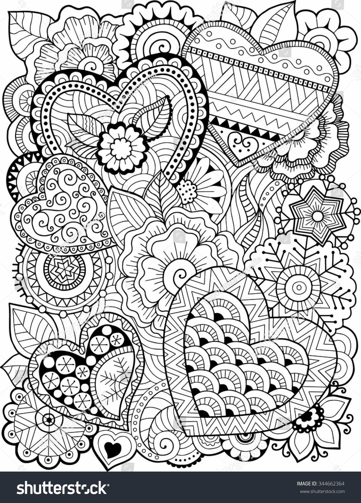 Vector Coloring Book For Adult Hearts And Flowers Raskraski Abstraktnye Raskraski Besplatnye Raskraski