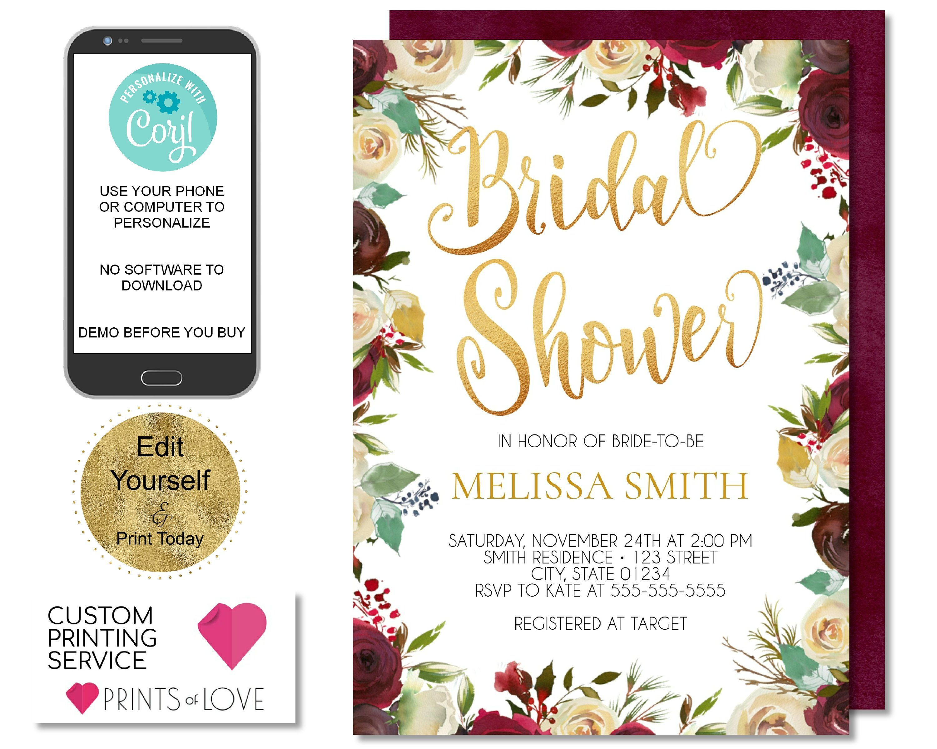 holiday bridal shower invitation christmas bridal shower invite winter bridal christmas florals red white holly gold editable invite by