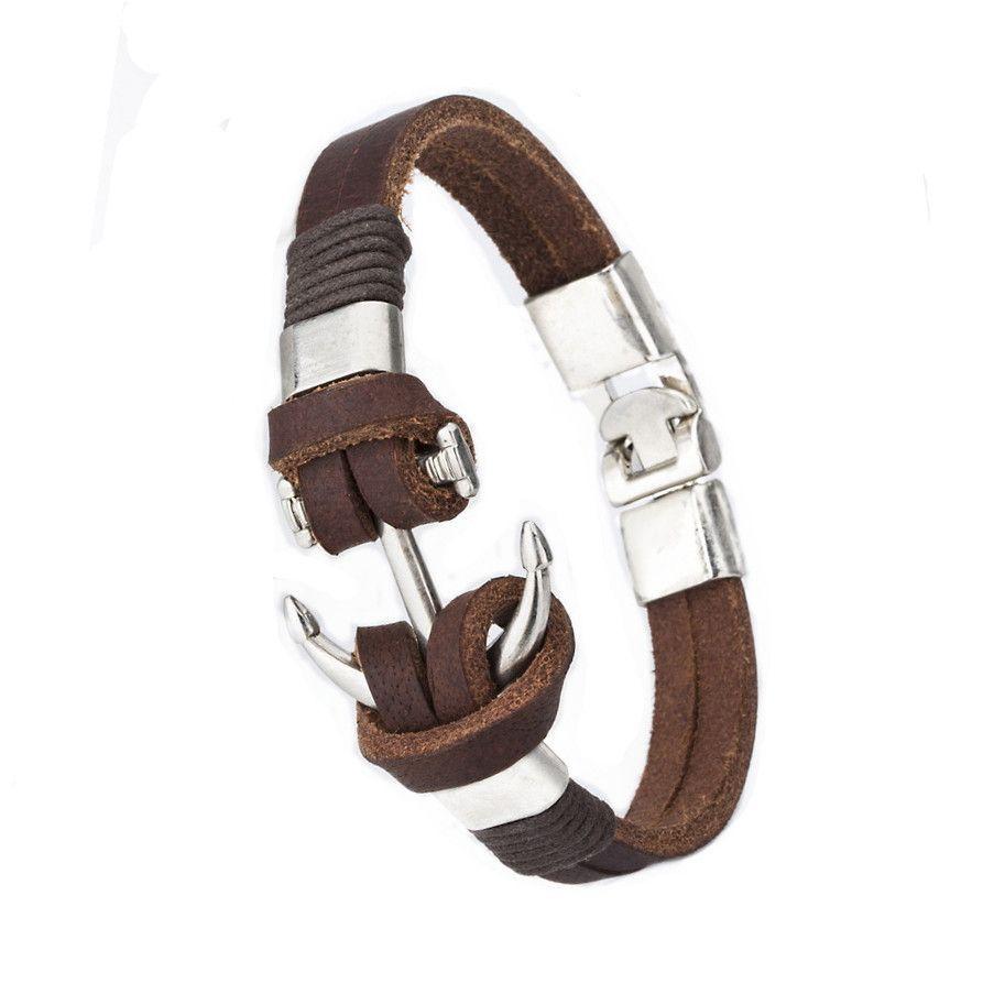 Trendy anchor bracelet man bracelets fashion jewelry cm leather