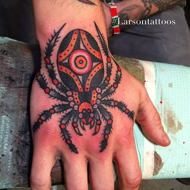 1045ffea6 jonlarsontattoos: Welcome to the spider hand club @_lukebarnes_ spider for  creativity-eye for clarity-and a compass for direction #larsontattoos # ...