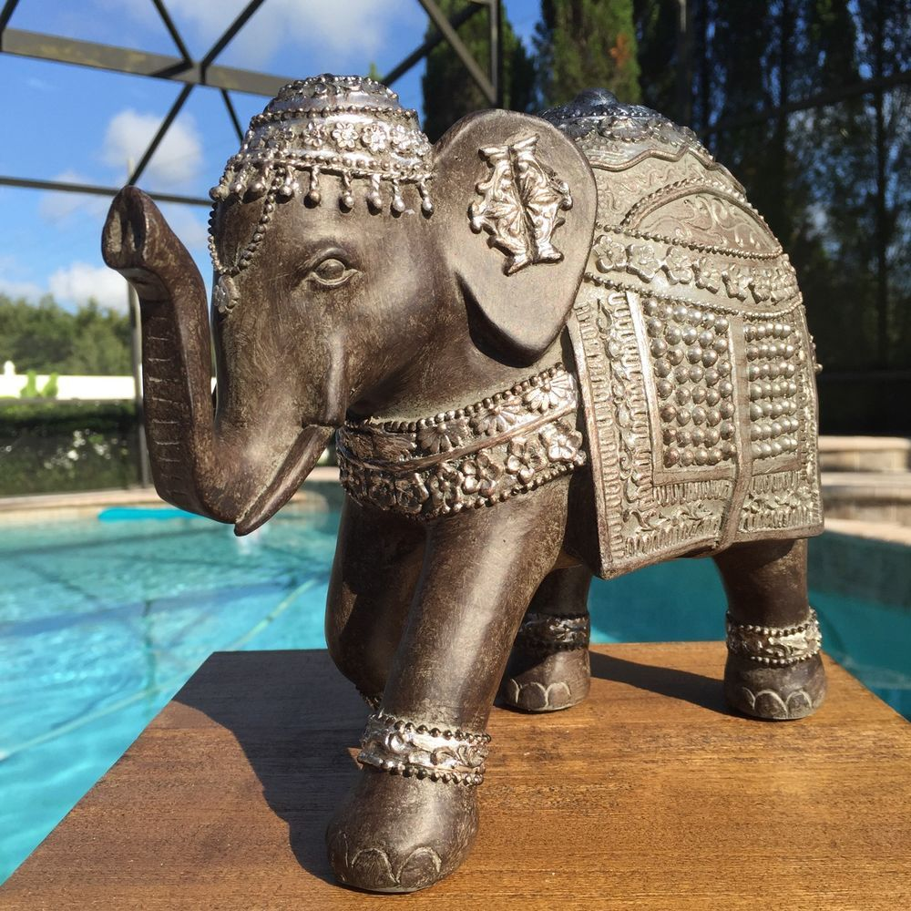 New Trunk Up Lucky Elephant Statue Figure Feng Shui Home Decor Good