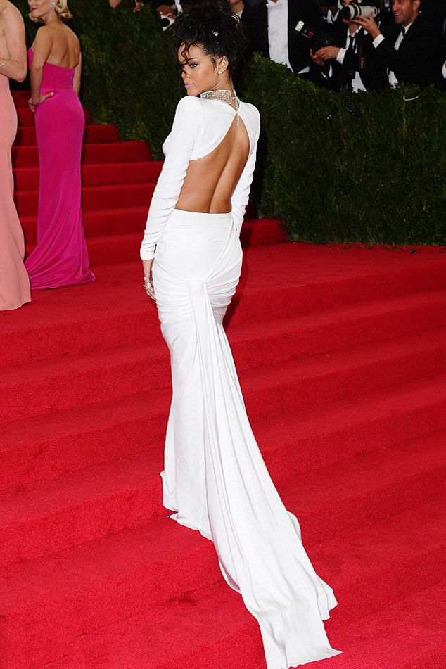 Rihanna White Jersey Two-piece Beaded Neck Dress in 2020 ...