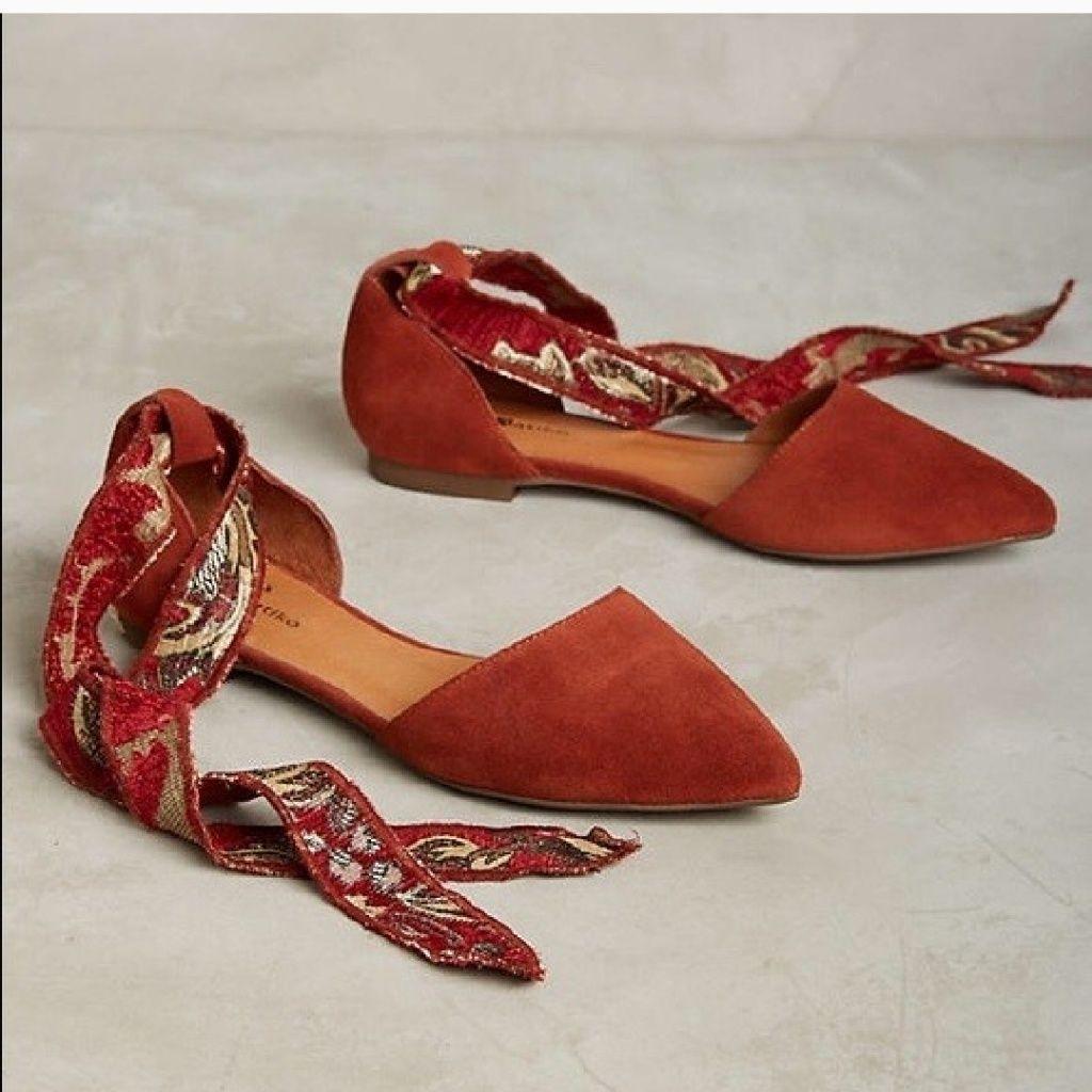 Anthropologie Shoes | Iso Matiko Rey Flatsanthropologie | Color: Orange | Size: 6