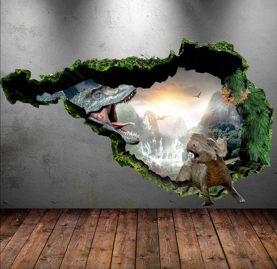Dinosaur Wall Decal Wall Stickers Full Colour 3D Dinosaur T Rex Wall Art  Sticker Boys. Dinosaur Wall Decal Wall Stickers Full Colour 3D Dinosaur T Rex