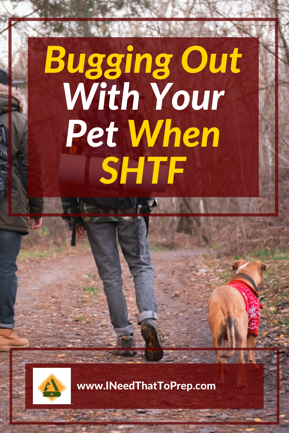 Do you have your pets prepared if SHTF?  Learn some of the basics of getting your pet ready to leave at a moment's notice. #preppers #prepping #SHTF #preppingpets #preppingdogs #dogs #emergencypreparedness #disasterpreparedness #shtf #bugout #buggingout #survival #survivalist #lovedogs