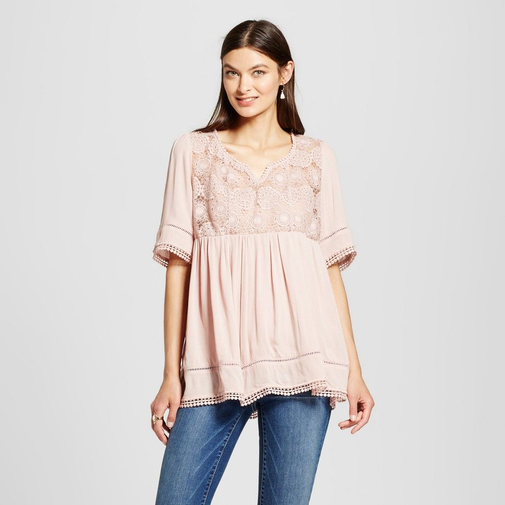 0f89f842f2a90f Women s Short Sleeve Blouse with Crochet - Knox Rose Blush Xxl ...