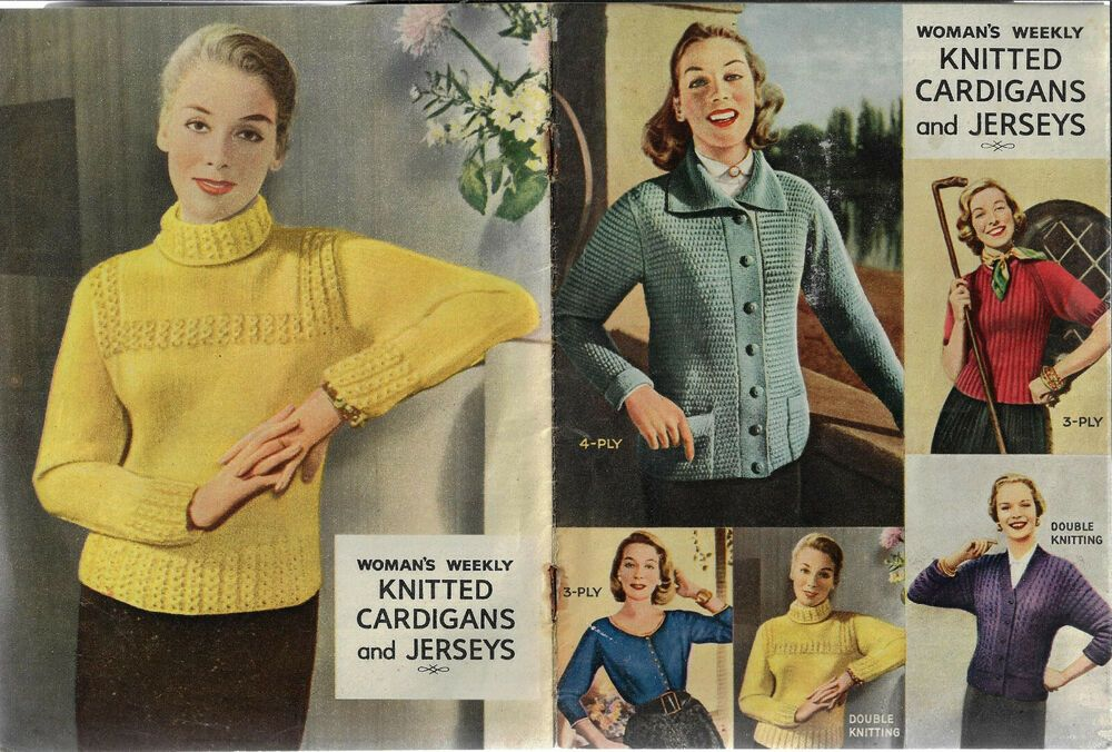 Knitted Cardigans Jerseys 1950s Vintage Nz Woman S Weekly Magazine Pullout Ebay In 2020 Knitting Women Knit Cardigan Womans Weekly