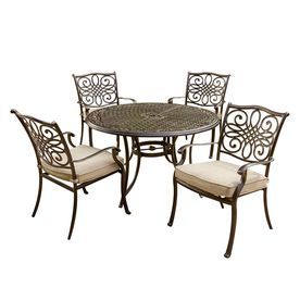 Hanover Outdoor Furniture Traditions 5 Piece Bronze Aluminum Patio Dining Set Traditions5pc Patio Dining Furniture Dining Furniture Sets Outdoor Dining Set