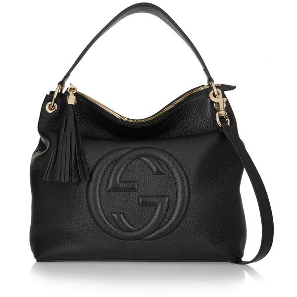 29b9c8824 Gucci Soho Hobo textured-leather shoulder bag ($1,815) ❤ liked on Polyvore  featuring bags, handbags, shoulder bags, black, zip pouch, black zipper  pouch, ...