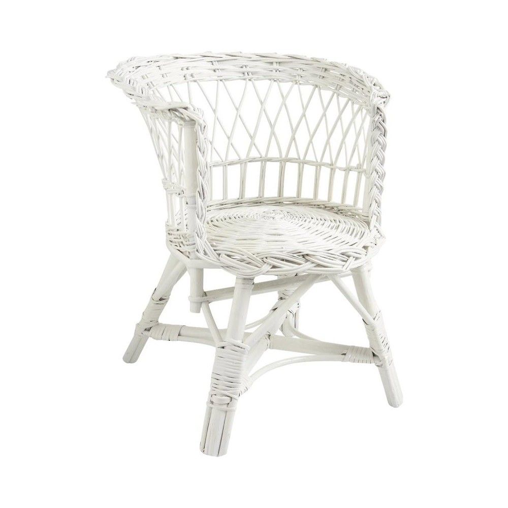 fauteuil osier rotin blanc pour