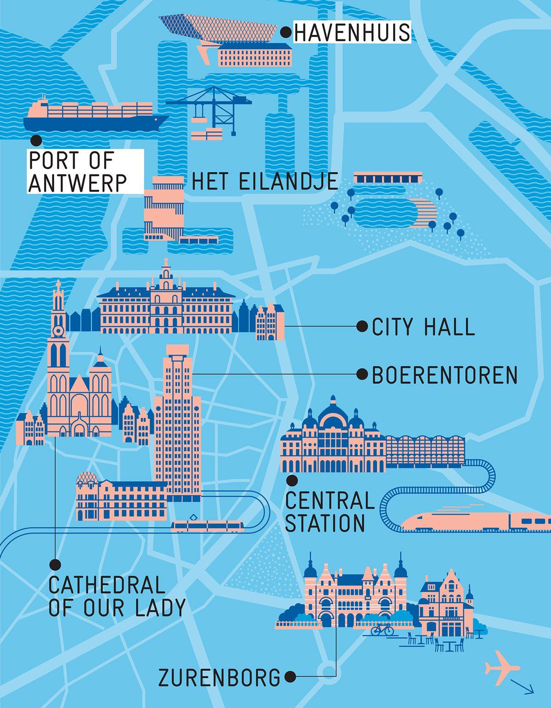 Antwerp Map Europe.Antwerp Guide For Monocle Magazine On Behance Antverpenas Pinte
