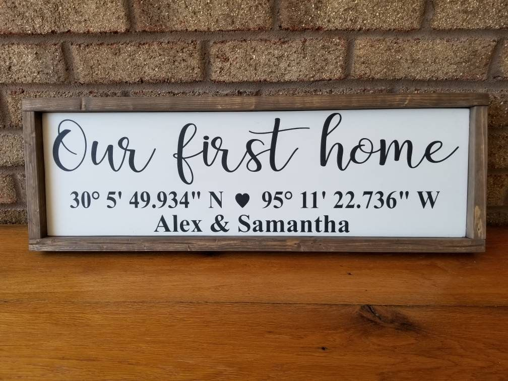 Photo of Coordinates Wood Sign, Our First Home Sign, Latitude Longitude Sign, GPS, Custom Sign, Farmhouse Decor, Farmhouse Wall Decor, New Home Sign