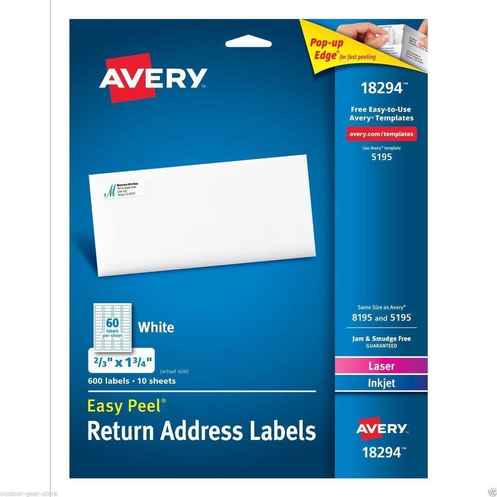 Avery Return Address Labels Laser Inkjet 1 2 X1 3 4 White 18294 New 600 Labels Avery Avery Address Labels Avery Labels Mailing Address Labels