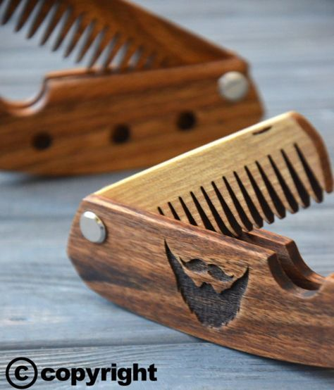 Folding comb Walnut Beard comb Personalized custom engraved wooden