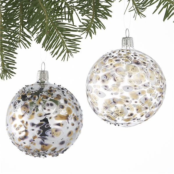 Set of 2 Bubble Art Glass Ball Ornaments in Christmas Ornaments